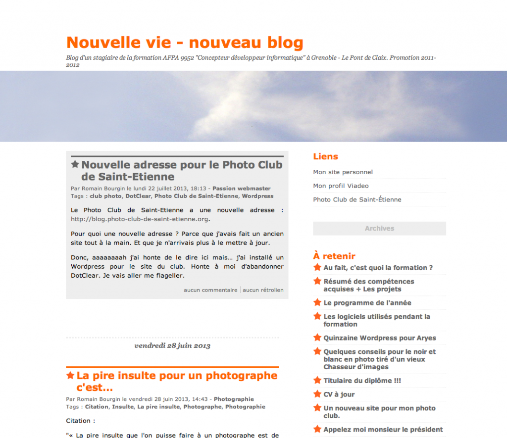 Capture Nouvelle vie - nouveau blog - le blog personnel de Romain Bourgin